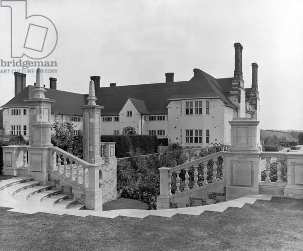The entrance front seen from the north west of Marsh Court, from 'Edwin Lutyens: Country Houses' (b/w photo)