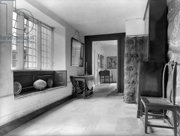 Kelmscott Manor, Oxfordshire, looking from the North Hall into the Panelled Room in the north wing, from 'Country Houses of the Cotswolds' (b/w photo)