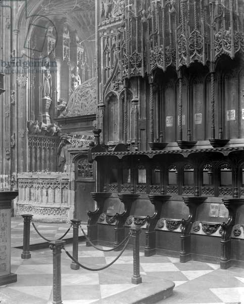 Interior of Westminster Abbey, London (b/w photo)