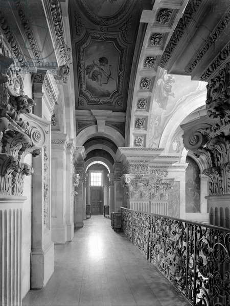 The gallery overlooking the Great Hall, Castle Howard, North Yorkshire, from 'The Country Houses of Sir John Vanbrugh' by Jeremy Musson, published 2008 (b/w photo)