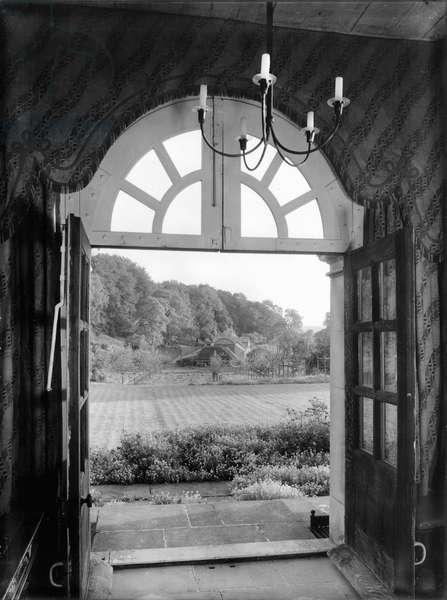 View over the terrace at Hilles, from 'Country Houses of the Cotswolds' (b/w photo)
