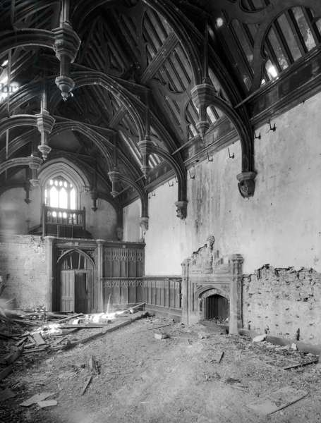 Interior at Bayons Manor, Lincolnshire, from 'England's Lost Houses' by Giles Worsley (1961-2006) published 2002 (b/w photo)