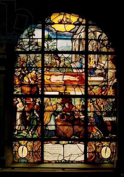Saint-Etienne du Mont church, window glass depicting the Dead Christ (stained glass)