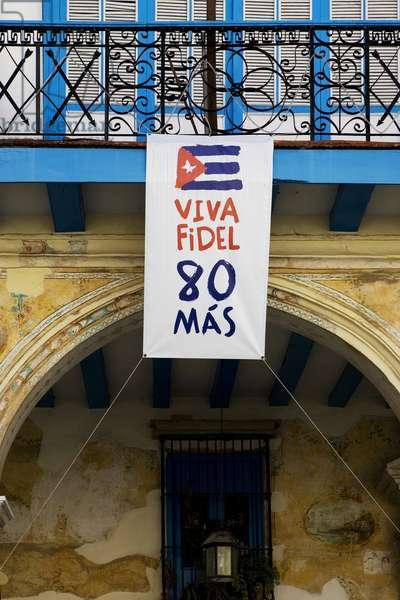 Poster for the 80th anniversary of Fidel Castro, 2007 (photo)