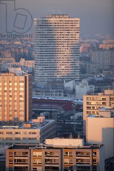 View of Tour Boucry, architect Jean-Robert Delb, 18th Arrondissement, Paris, France (photo)