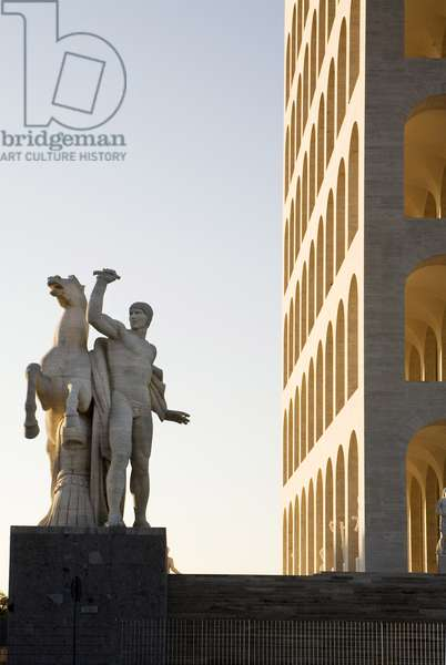 Nude Roman and Rearing Horse and view of the Square Colosseum (photo)