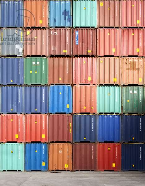 Shipping containers, Antwerp harbour, Belgium (photo)