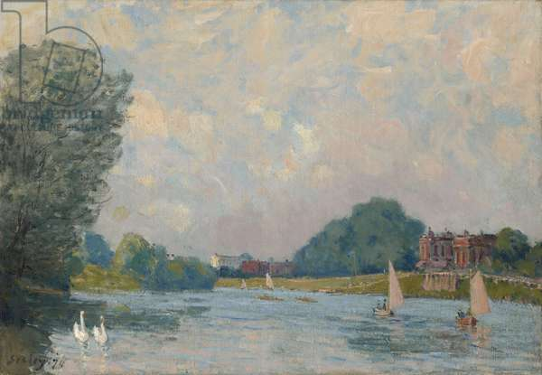 The Thames at Hampton Court, 1874 (oil on canvas)