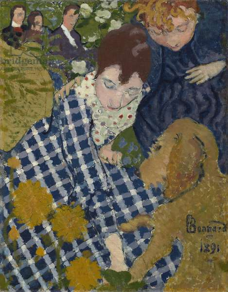 Women with Dog, 1891 (oil & ink on canvas)