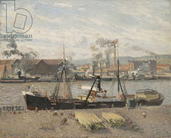 Port of Rouen, Unloading Wood, 1898 (oil on canvas)