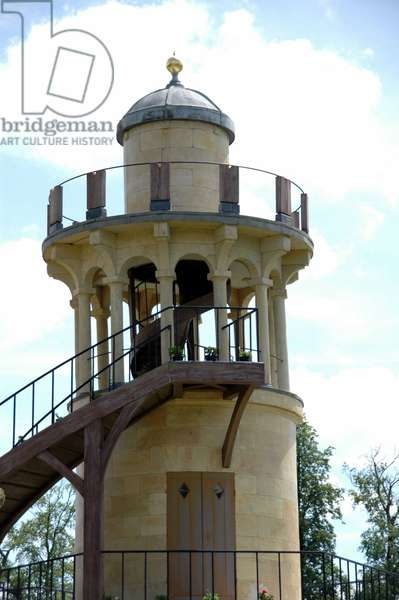 The Malborough Tower of the Hamlet of Queen Marie Antoinette in the park of the Chateau de Versailles.