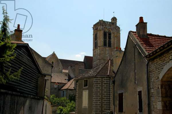 View of the bell tower of the church Notre Dame de Noyers on serene (Yonne) built between the 15th and 17th centuries.