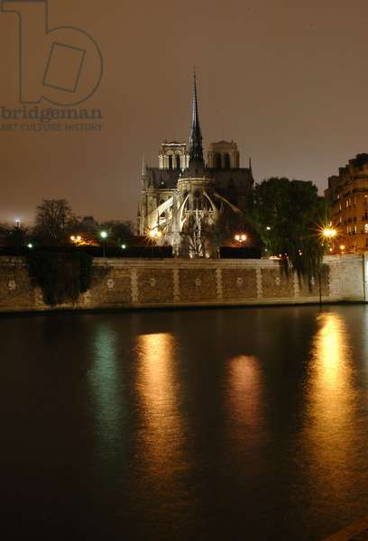 Cathedrale Notre Dame in Paris at night in 2006.
