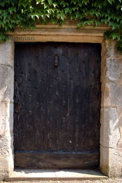 Wooden door studded from the 15th century in Walnut on serene (Yonne)