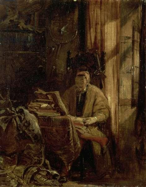 Don Quixote in his Study (oil on canvas)