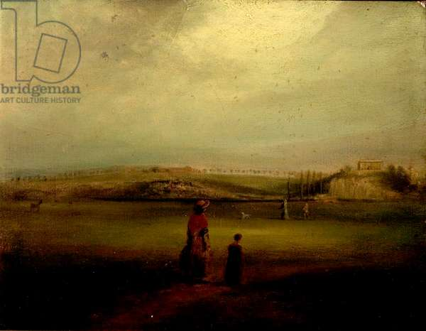View of Nottingham Castle from the Meadows, 1820 (oil on wood)