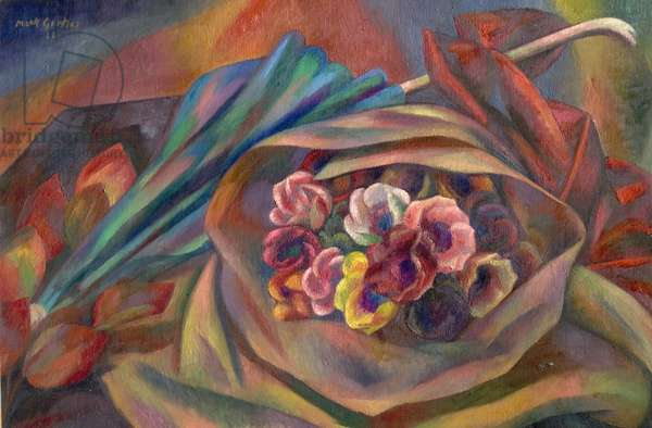Bouquet and Sunshade (oil on canvas)