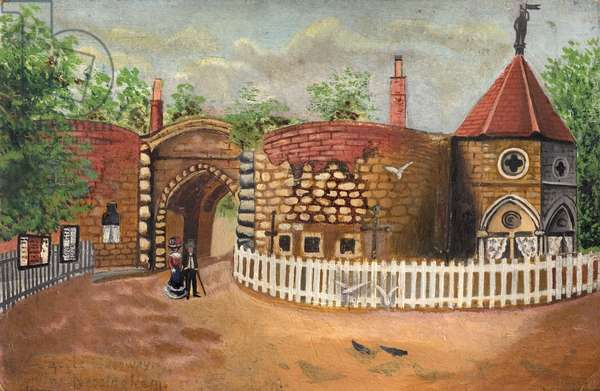 Nottingham Castle Gateway, 1904 (oil on wood)