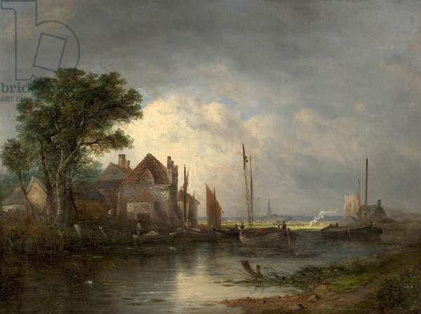 River Scene with Boats, 19th century (oil on canvas)