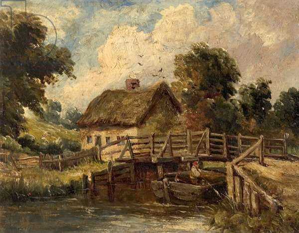 Cottage near East Bergholt, Suffolk (oil on canvas)