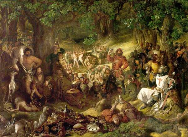 Robin Hood and His Merry Men Entertaining Richard the Lionheart in Sherwood Forest, 1839 (oil on canvas)