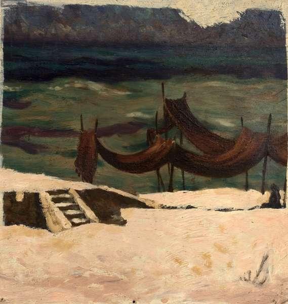 Drying Nets, Gaza, Palestine, 1948 (oil on wood)