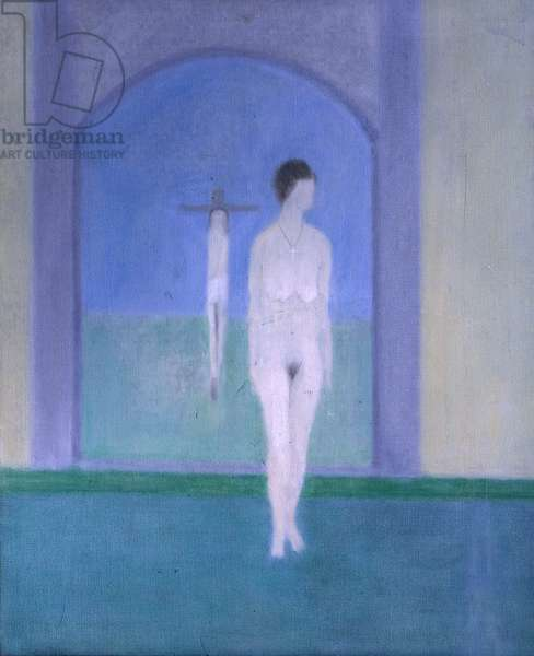 Nude Standing in front of a Picture, 1963 (oil on canvas)