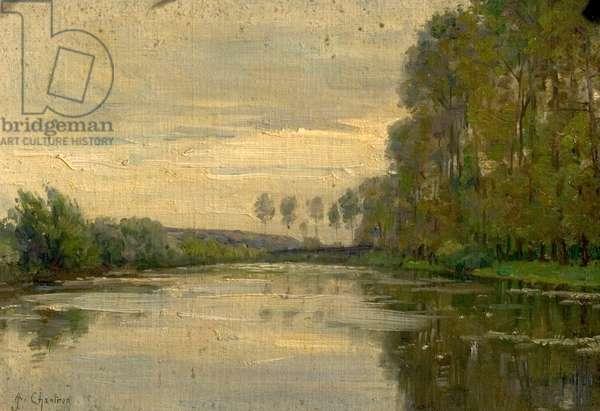 River Scene, the Lower Loire, France (oil on board)