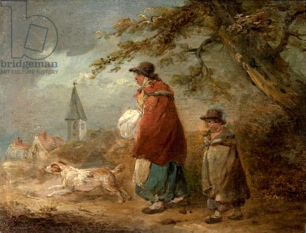 Woman, Child and Dog on a Road (oil on wood)