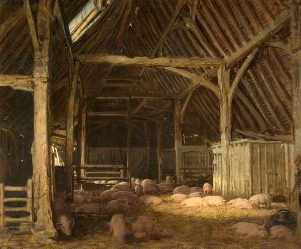 An Interior of a Barn (oil on canvas)