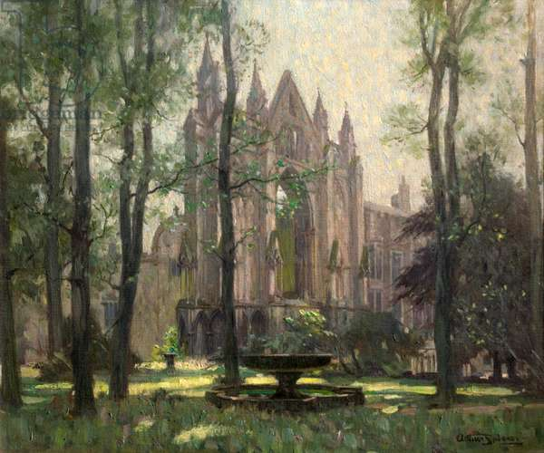 Newstead Abbey, the Monk's Wood, Nottinghamshire (Newstead Abbey from the North West) (oil on canvas)