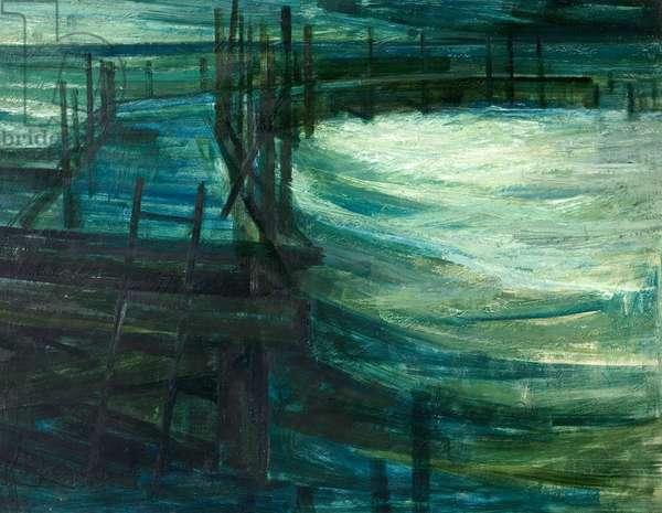 Derelict Pier, Swanage, Dorset, 1959 (oil on wood)