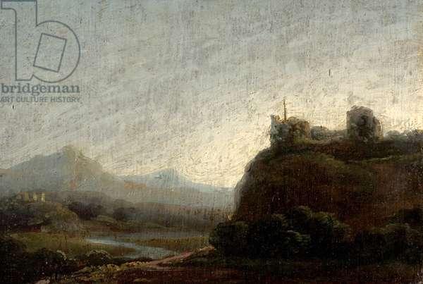 Mountainous Landscape, Evening (oil on wood)