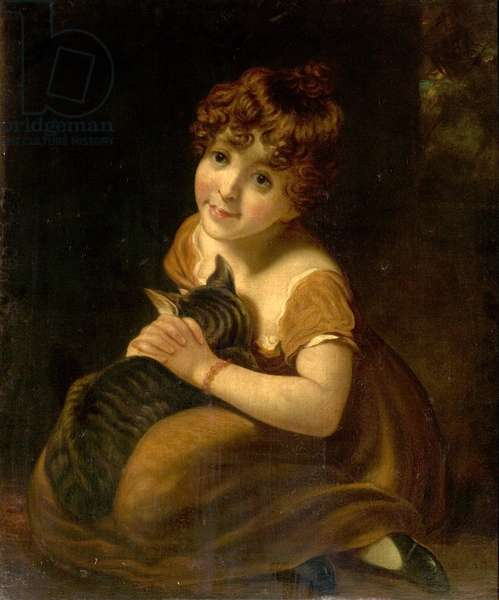 Girl with a Cat (oil on canvas)