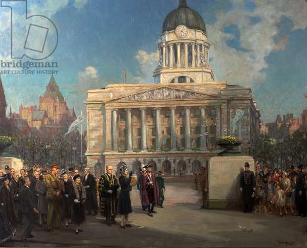 Lord Mayor and Lady Mayoress Receiving Princess Elizabeth in the Council House Square, 2 April 1946 (oil on canvas)