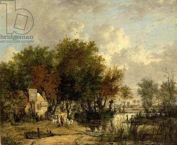 River Scene, Boy Driving Sheep (oil on wood)