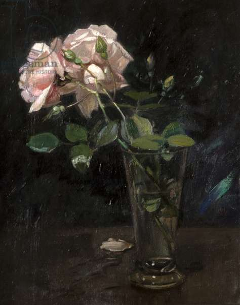Pink Roses in a Glass Vase (oil on board)