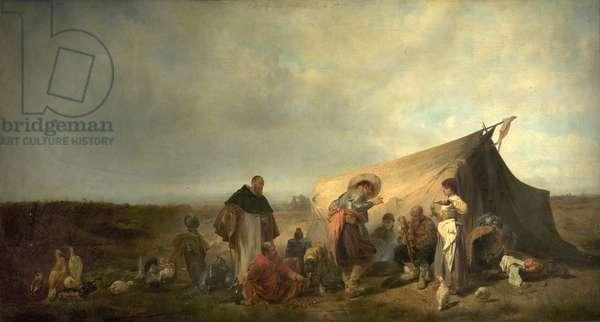 Military Encampment (oil on canvas)