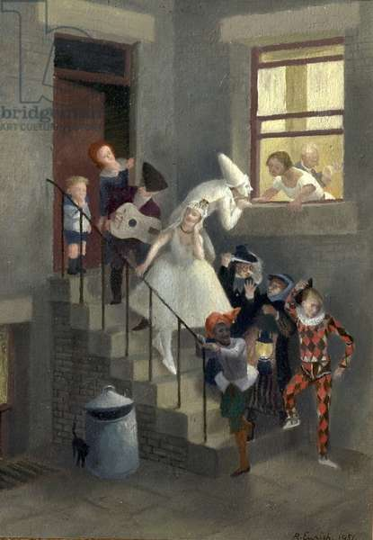 The Mummers, 1951 (oil on board)