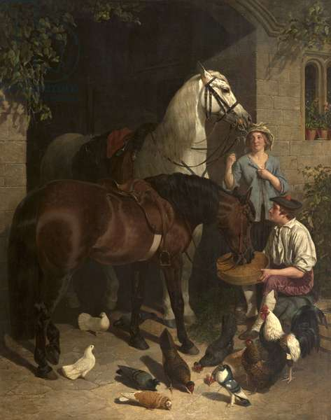Feeding the Horses (Horses, Figures and Poultry), 1858 (oil on canvas)