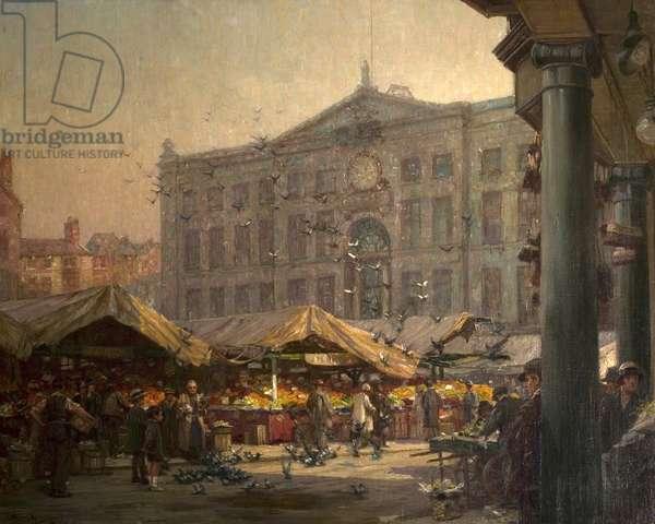 Nottingham Old Market Place, c.1920 (oil on canvas)