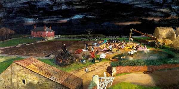 Men of Straw, 1957 (oil on wood)
