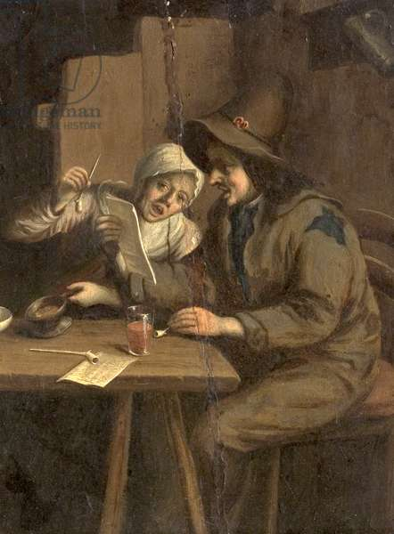 Interior, Figures at a Table, Singing (oil on wood)
