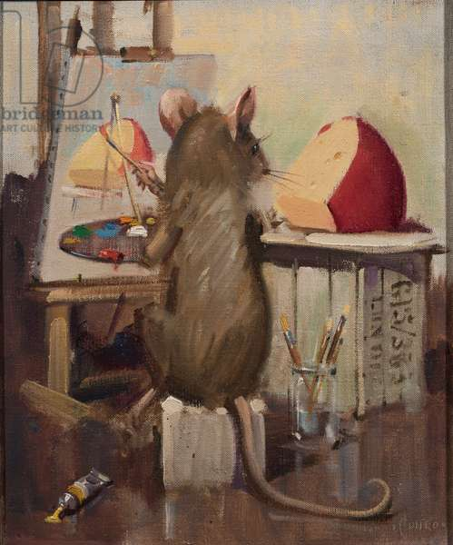 Still Life (Mouse Painting a Gouda Cheese) (oil on canvas)