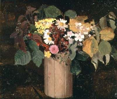 Autumnal Flowers in a Jam Pot