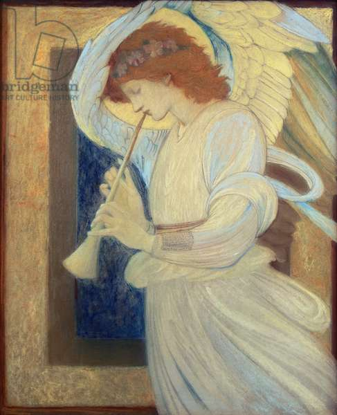 An Angel Playing a Flageolet (w/c)