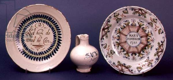 Lambeth delftware Merryman plate, 1720 and sack bottle, 1749 (ceramic)