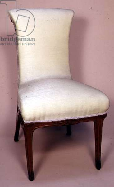 Carved and upholstered chair, c.1900 (pearwood)