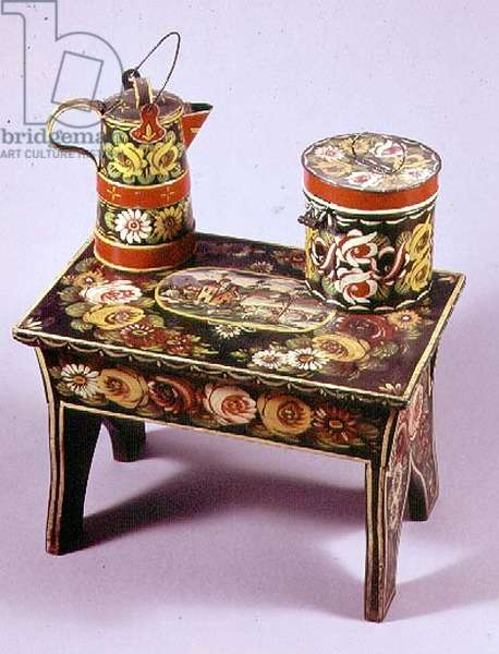 Stool, coffee pot and box (hand painted wood)