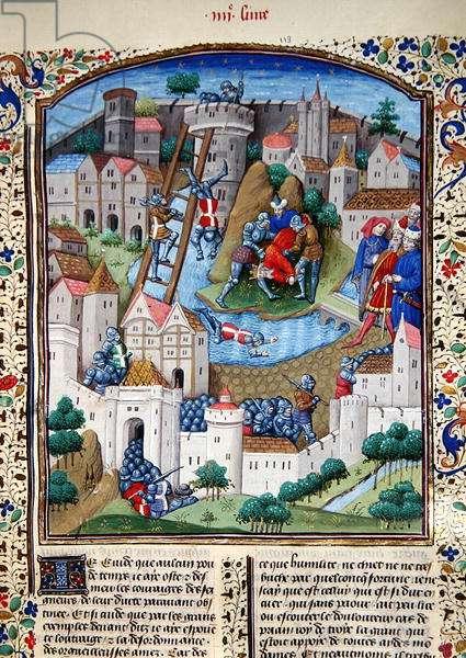 Ms 860/401 fol.106 The Taking of a Town, from `Cas des Nobles Hommes et Femmes', by Boccaccio, translated by Laurent de Premierfait, 1465 (vellum)